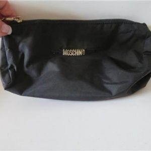 MOSCHINO BLACK FABRIC MAKEUP COSMETIC BAG